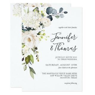 Elegant White Roses and Hydrangeas Floral Wedding Invitations