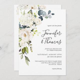 Elegant White Roses and Hydrangeas Floral Wedding Invitation
