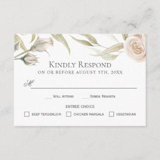 Elegant White Roses Watercolor RSVP with Entrees