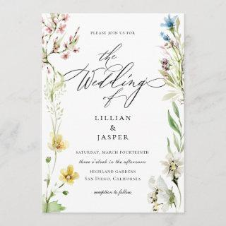 Elegant Wildflower Frame Calligraphy Wedding Invitation