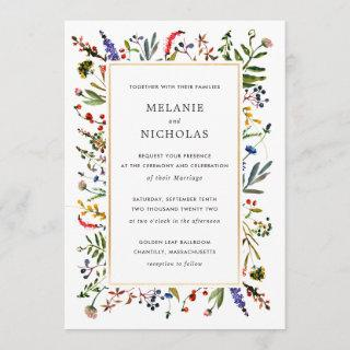 Elegant Wildflower + Gold Wedding invitation