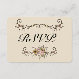 "Elegant Wildflower Wedding RSVP Matte 3.5"" x 5"""