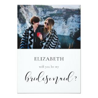 Elegant Will you be my bridesmaid photo card