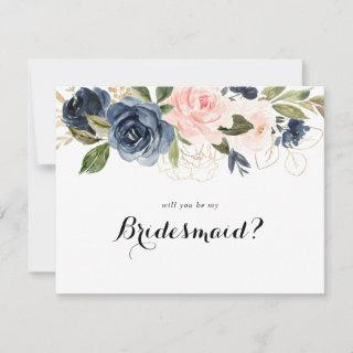 Elegant Winter Floral Bridesmaid Proposal Note Card