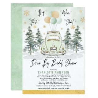 Elegant Winter Holiday Drive Thru Bridal Shower Invitations