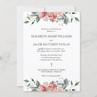 Elizabeth Two Shall Become One Christian Wedding Invitations