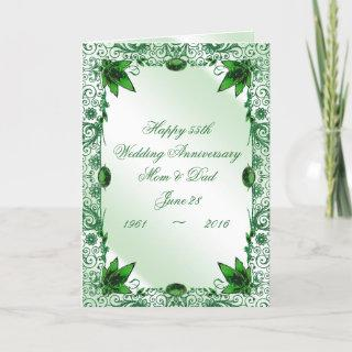 Emerald 55th Wedding Anniversary Greeting Card