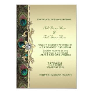 Emerald Green and Gold Peacock Wedding Invitations