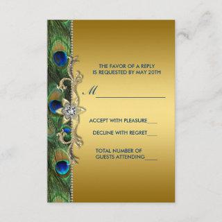 Emerald Green and Gold Peacock Wedding RSVP