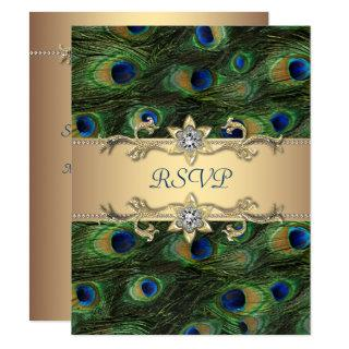 Emerald Green Gold Royal Indian Peacock Wedding RSVP Card