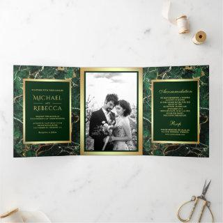 Emerald Green Marble Faux Gold Foil Photo Wedding Tri-Fold Invitations