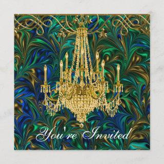Emerald Green Royal Blue Gold Chandelier Party Invitations