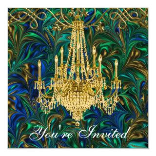 Emerald Green Royal Blue Gold Chandelier Party Invitation