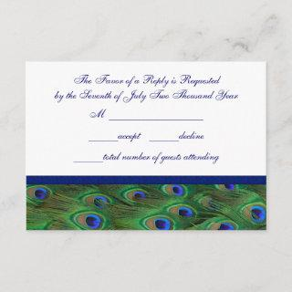 Emerald Green Royal Blue Peacock Feathers Wedding RSVP Card