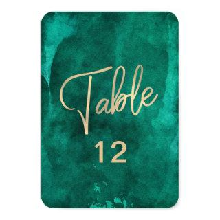 Emerald Green Watercolor & Gold Table Number Chart