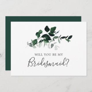 Emerald Greenery Bridesmaid Proposal Card