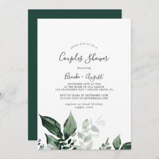 Emerald Greenery Couples Shower Invitations