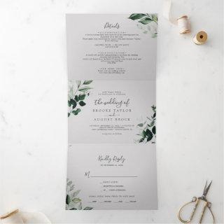 Emerald Greenery | Gray Photo Wedding All In One Tri-Fold Invitations