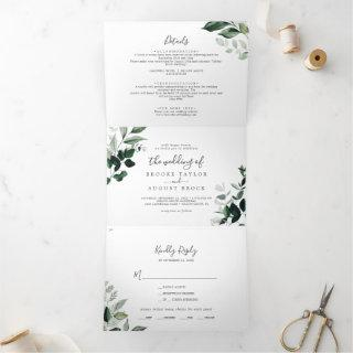 Emerald Greenery | Leaf Back Wedding All In One Tri-Fold Invitation