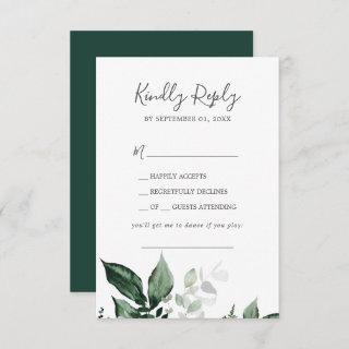 Emerald Greenery Song Request Wedding RSVP Card