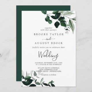 Emerald Greenery Wedding Invitations