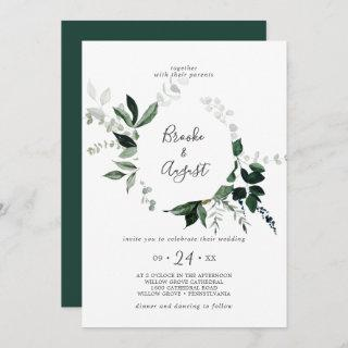 Emerald Greenery Wreath Wedding Invitations