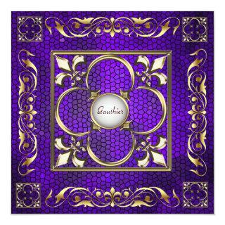 Emperor Fleur De Lis Purple Regency Invitation