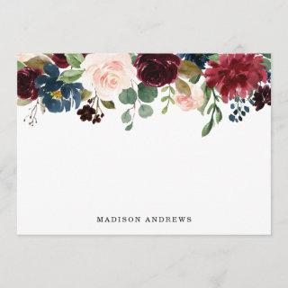 Enchanted Floral Personalized Stationery Flat Card