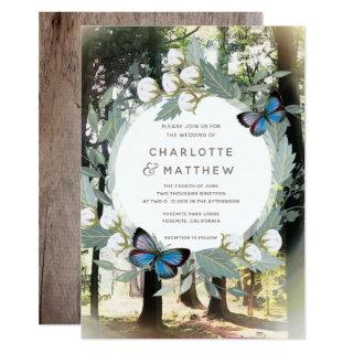 Enchanted Forest Floral Butterfly Green Wedding Invitations