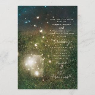 Enchanted Forest Mason Jar Rustic Wedding Card