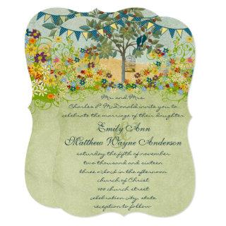 Enchanted Forest Teal Love Bird Wedding Invitation