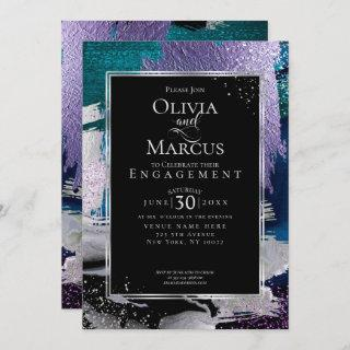 ENGAGEMENT | Chic Bold Orchid Aqua Metallic Invitation