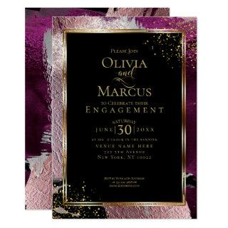 ENGAGEMENT | Modern Bold Abstract Wine Strokes Invitation