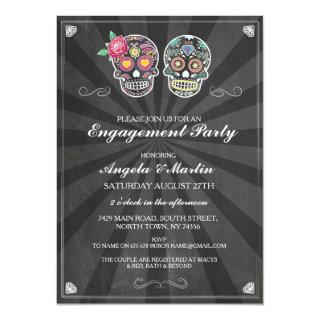 Engagement Party Chalk Sugar Skulls Couples Invite