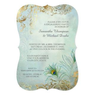Engagement Party Gold Leaf Peacock Feather Elegant Invitation