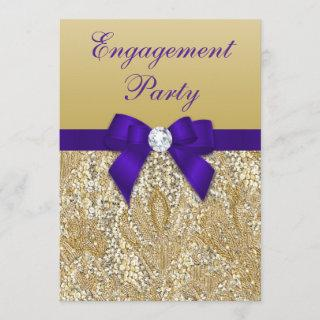 Engagement Party Gold Sequins Royal Purple Bow Invitation