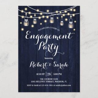 Engagement Party - Navy Blue Rustic Wood Invitations
