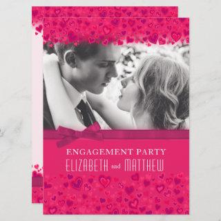Engagement party pink hearts photo bow invitation