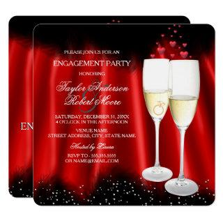 Engagement Party Red Black Champagne Ring Heart Invitation