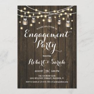 Engagement Party - Rustic Wood Invitations