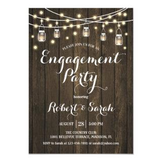 Engagement Party - Rustic Wood Invitation