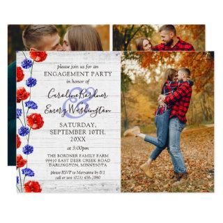 Engagement Party Rustic Wood & Red Poppy 4-Photo Invitations