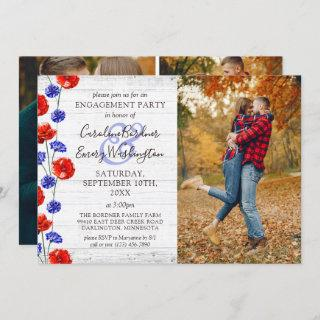 Engagement Party Rustic Wood & Red Poppy 4-Photo
