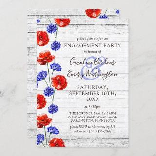 Engagement Party Rustic Wood & Red Poppy Country