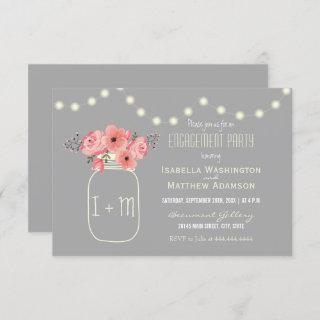 Engagement Party | Watercolor Flowers & Mason Jar Invitations