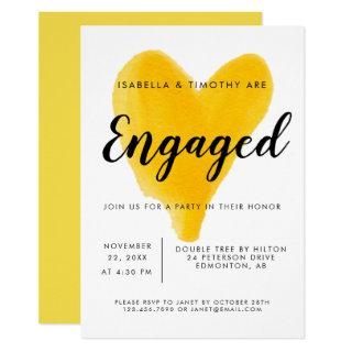 Engagement Party yellow heart watercolor modern Invitation