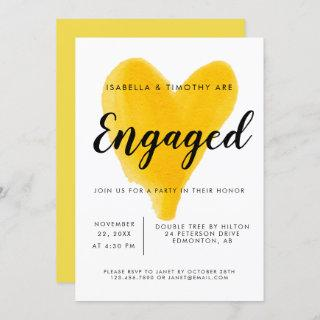Engagement Party yellow heart watercolor modern Invitations