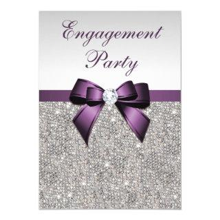 Engagement Silver Sequins Violet Bow Invitations