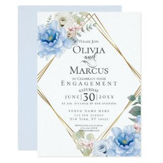 ENGAGEMENT | Tropical Blue Watercolor Flowers Invitations