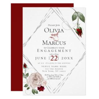 ENGAGEMENT | Wine Red and Blush Watercolor Roses Invitation
